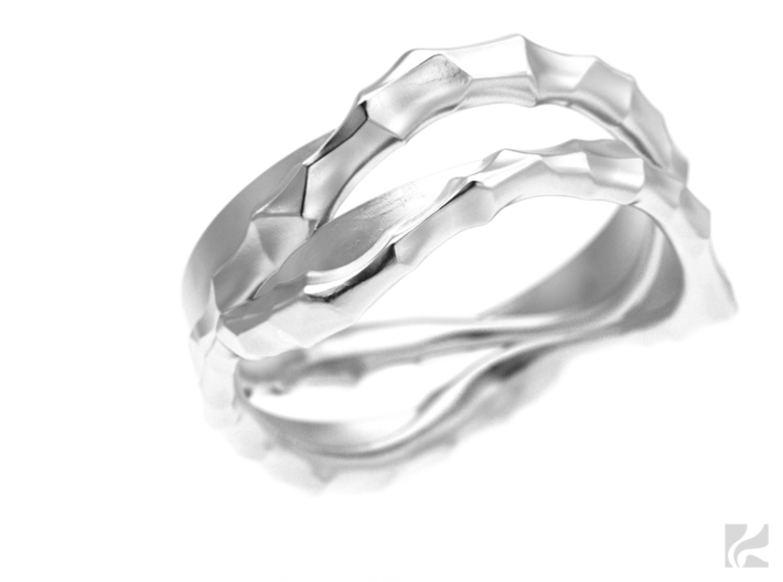 Full Dual Voronoi Ring 3d printed Silver