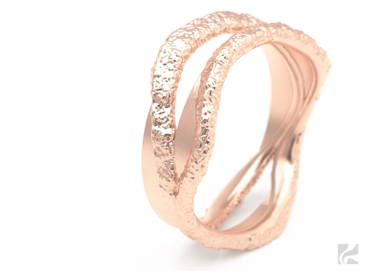 Full Dual Stone Ring 3d printed Rose Gold