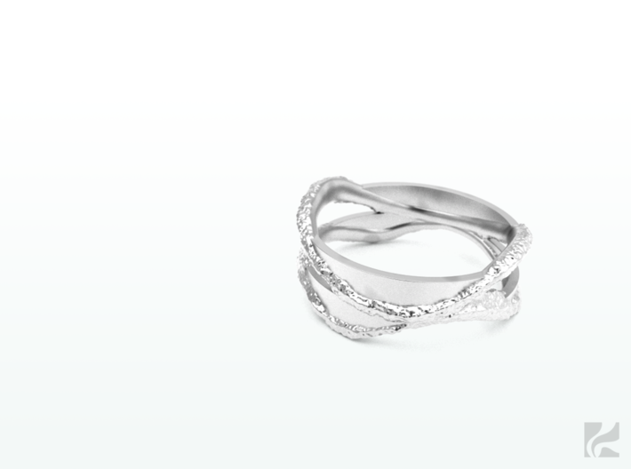 Full Dual Stone Ring 3d printed Silver