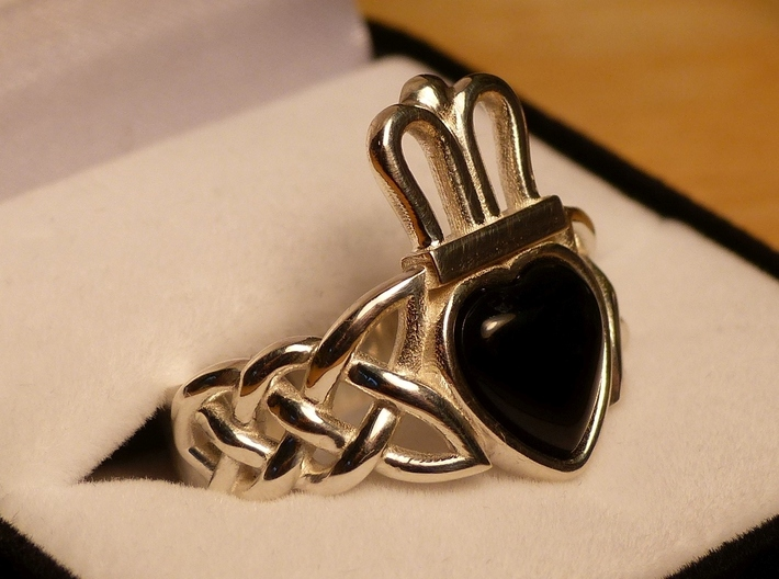 Onyx Claddagh Ring Size 11.5 - NO GEM 3d printed GEM NOT INCLUDED - SEE DESCRIPTION