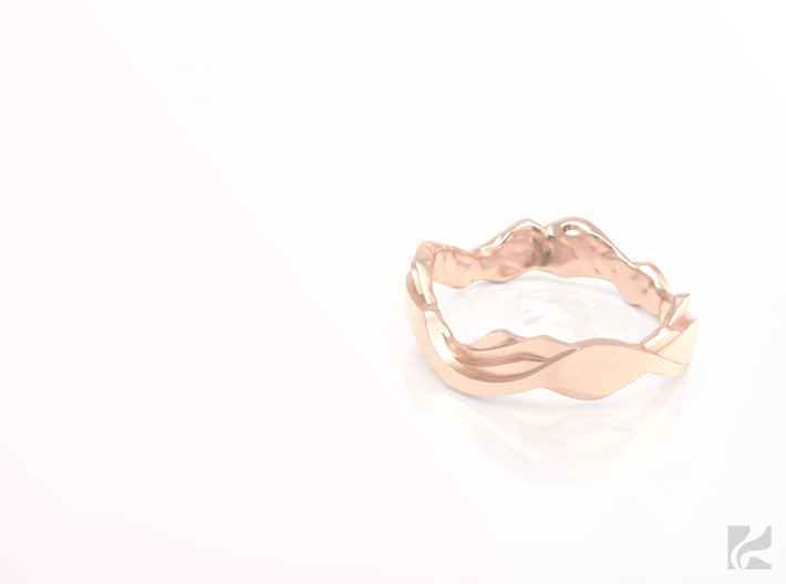 Sharp Edges Ring 3d printed Rose Gold