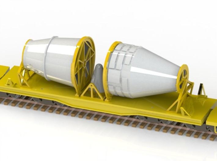 HO 1/87 NASA space shuttle SRB cradles 3d printed A CAD render showing the Nose-cones & Rocket cone mounted on their transit cradles.