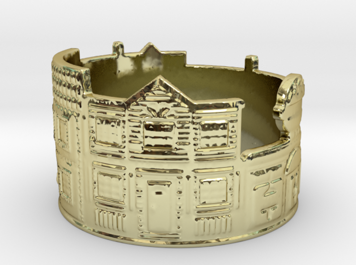 Estate Ring (size 4-13) 3d printed Estate is bright in gold.