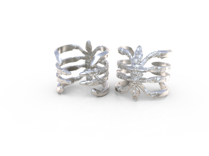 Recluse - Detailed Sterling Silver Ring 3d printed