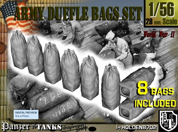 1-56 Army Duffle Bags Set1 3d printed
