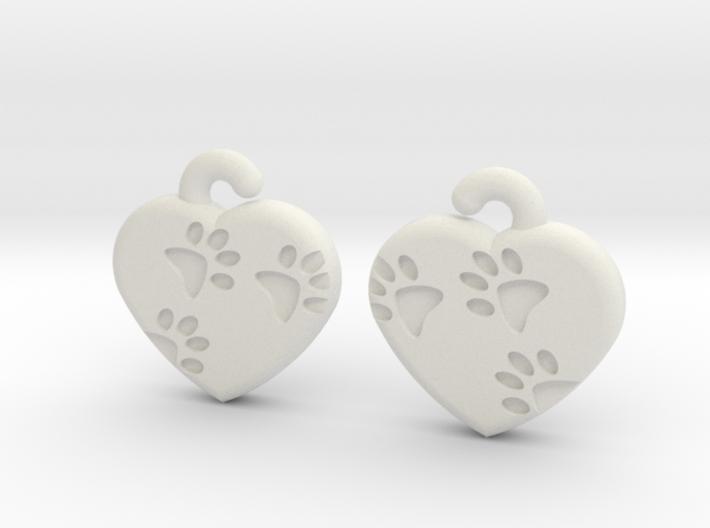 Pawprints On My Heart Earrings 3d printed