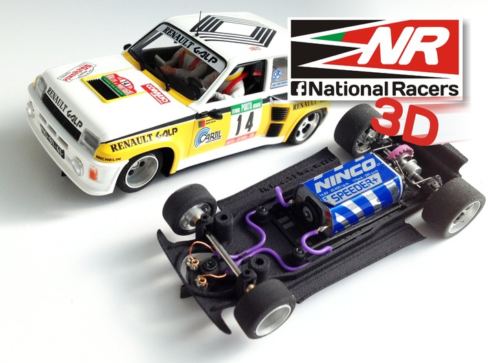 3D chassis for Fly Renault 5 Turbo (Inline) 3d printed Chassis compatible with Fly model (slot car and other parts not included)