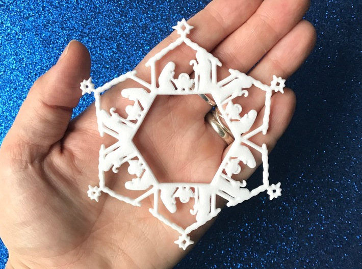 Nativity Snowflake Ornament 3d printed