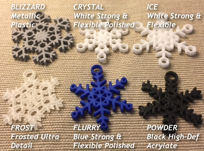 Blizzard Snowflake Earrings 3d printed Samples of available styles and materials