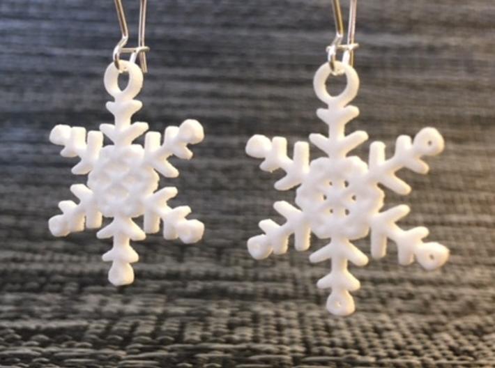"""Flurry Snowflake Earrings 3d printed Pair of """"Flurry"""" Snowflake Earrings in White Strong & Flexible"""