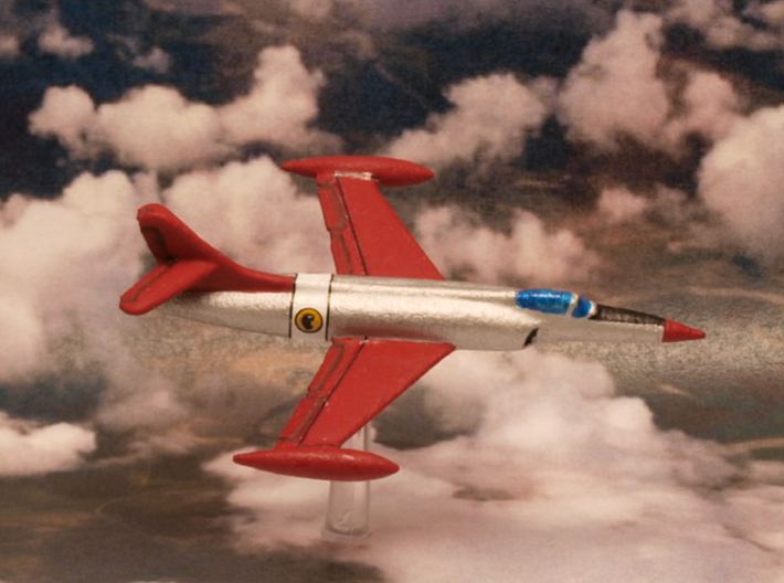 Lockheed XF-90 (In Flight/Fuel tanks) 6mm 1/285 3d printed Penetration fighter Lockheed XF-90 painted In the Blackhawks squadron livery (DC Comics)