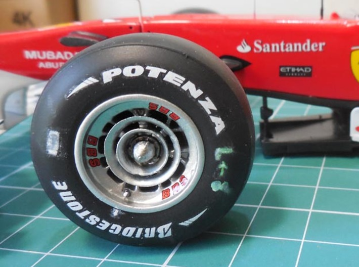 Ferrari F10, F150 Wheels 3d printed front wheel installed in the finished model