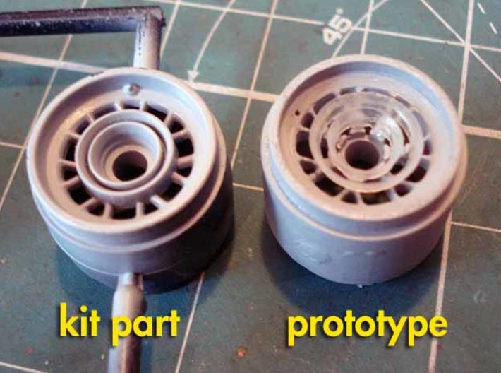 Ferrari F10, F150 Wheels 3d printed comparison between the original kit part and the printed front wheel