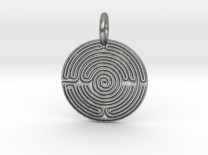 Small Labyrinth 3d printed Silver Labyrinth