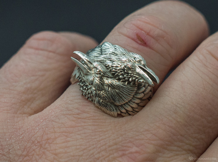 Two Ravens Ring 3d printed Polished silver