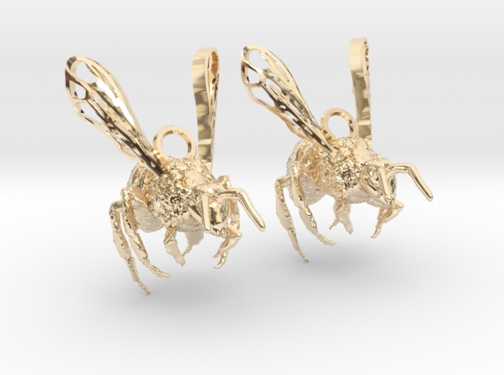 Western Honey Bee Earrings 3d printed