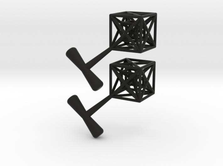 Hypercube Cuff Links 3d printed