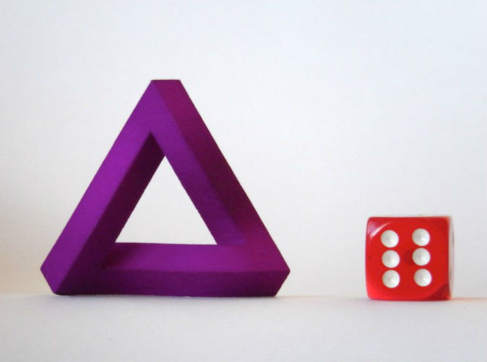 Impossible Triangle 3d printed Violet Purple Strong & Flexible