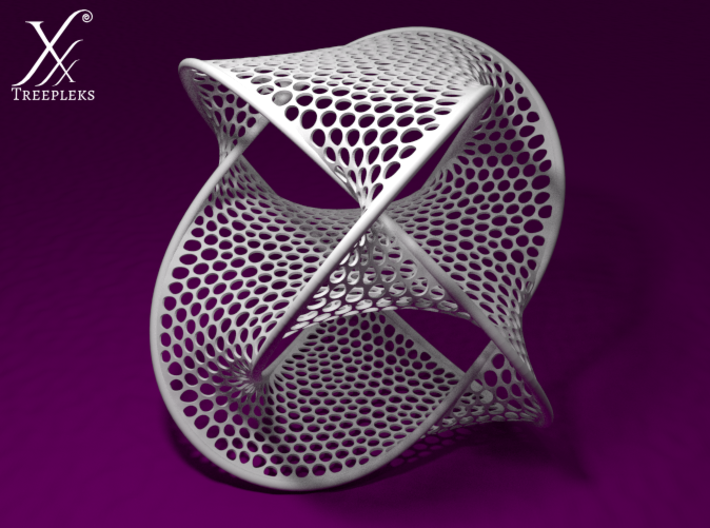 Large Boromean rings surface (11cm) 3d printed Optimized for White, Strong and Flexible material (Blender render).