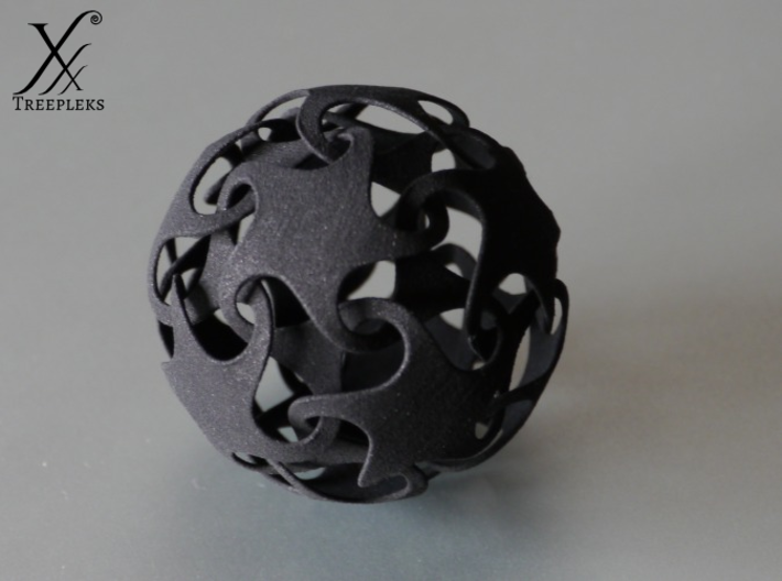 Dodecatron - Starfish ball (thin) 3d printed Printed in Black Strong Flexible.