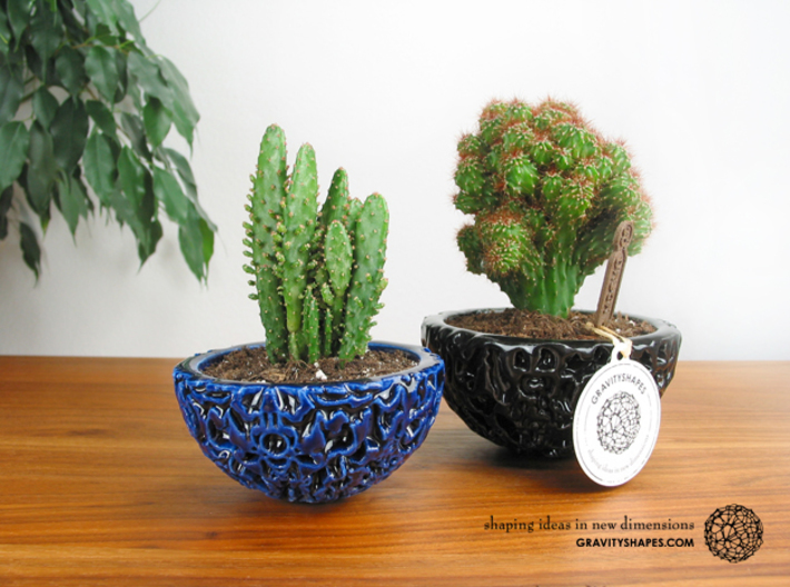 Little Galaxy Porcelain Pot (10,5 cm) 3d printed Little Galaxy Porcelain Bonsai Pot (two sizes)