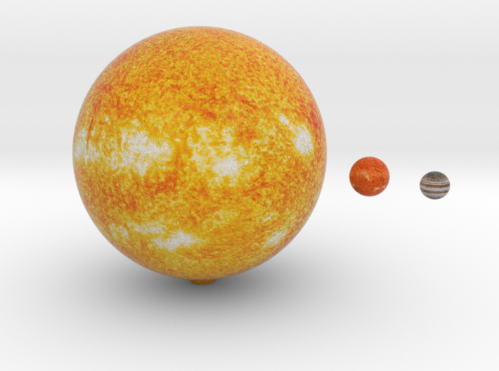 The Sun, Proxima & Jupiter to scale 3d printed