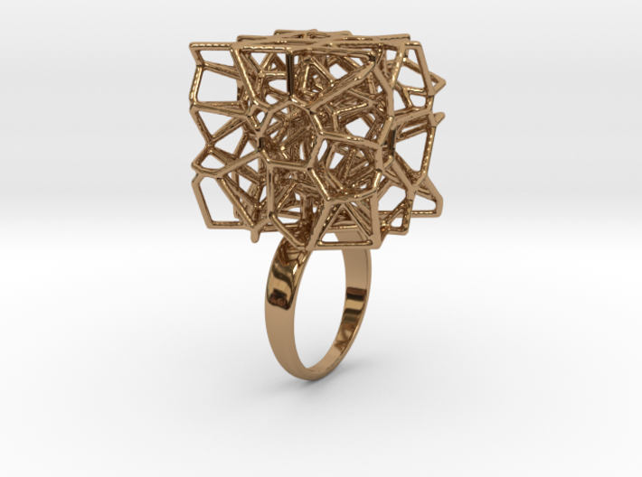 Voronoi Cube Ring (Size 7) 3d printed