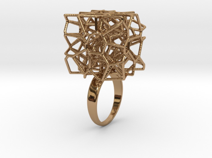 Voronoi Cube Ring (Size 8) 3d printed