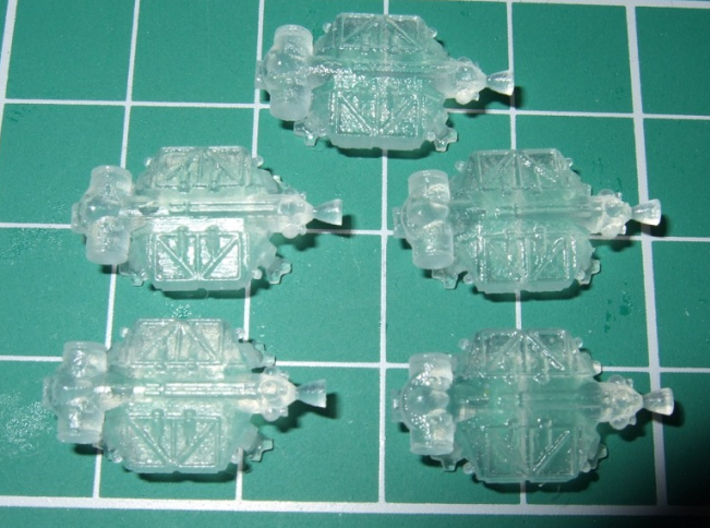 """Spacer1999 BT-C3 """"Construction Chameleon"""" Shuttles 3d printed Scouls502 says: Excellent little models, these are in FUD and shown on a 1 cm grid."""