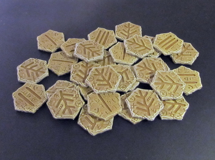 Elder Sign tokens 3d printed Hand-painted White Strong Flexible.