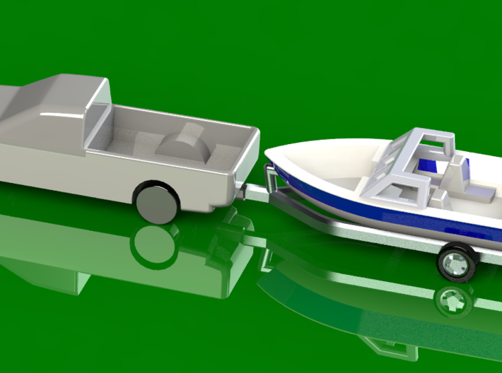 Z-Scale Boat Trailer 3d printed