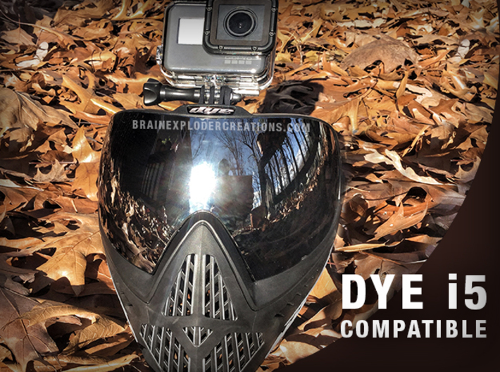 Paintball Mask Mount for GoPro Hero 1-7 & Session 3d printed Shown on a DYE i5 Mask