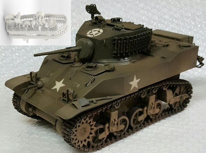 1:16 USA M5A1 Wheels and tracks 3d printed Model contains wheels and tracks only - See render