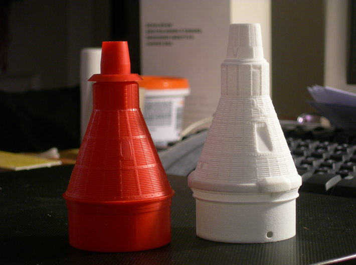 Liberty Bell 7 Capsule for ST-20 Estes (1/35) 3d printed Old inaccurate mold design vs. accurate new design