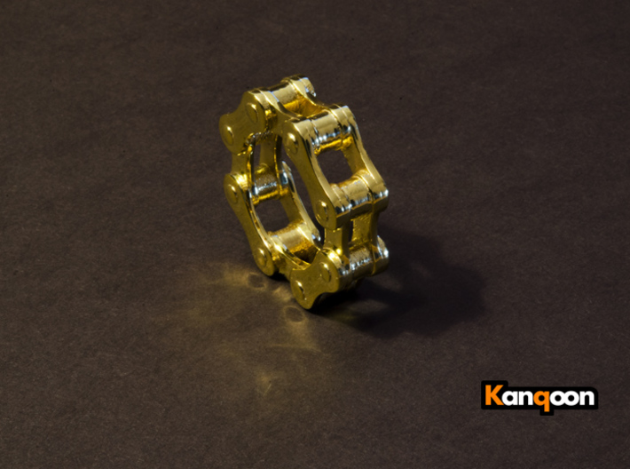 Violetta L. - Bicycle Chain Ring 3d printed printed Violetta L - US 9.5 in 18 k Gold plated