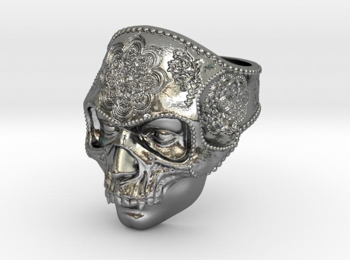 Mandala Skull Ring 3d printed
