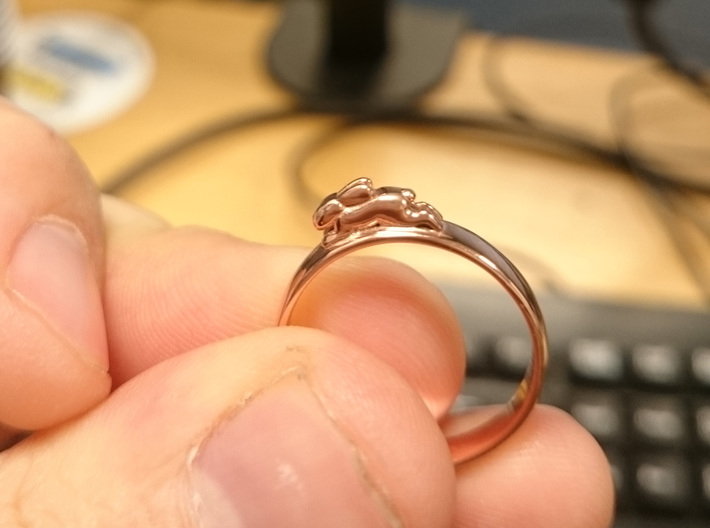 Bunny Rabbit Ring UK P, US 7.5, 17.8mm 3d printed Rose Gold Plated