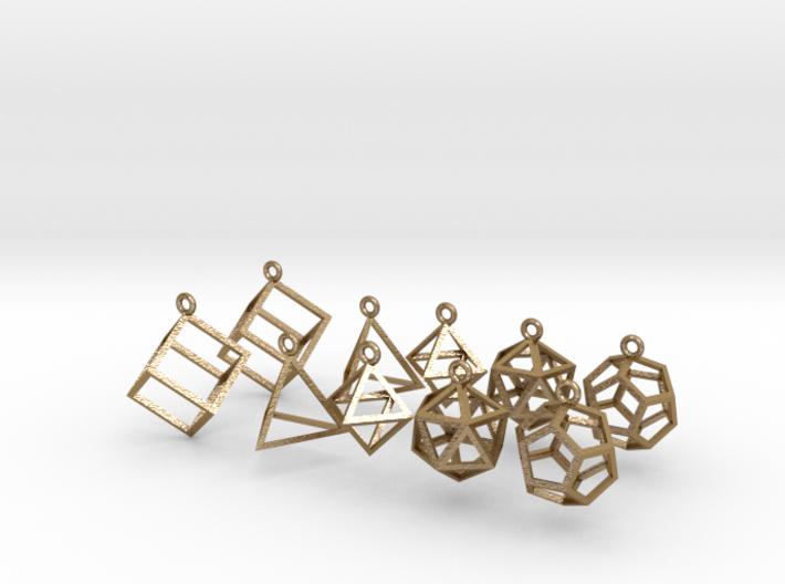 Platonic Earrings Set 3d printed
