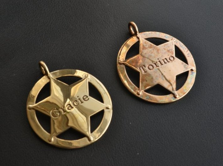 Sheriff's Star (6-point) Pet-Tag/Pendant (Thinner) 3d printed Polished brass on left. Polished bronze on right