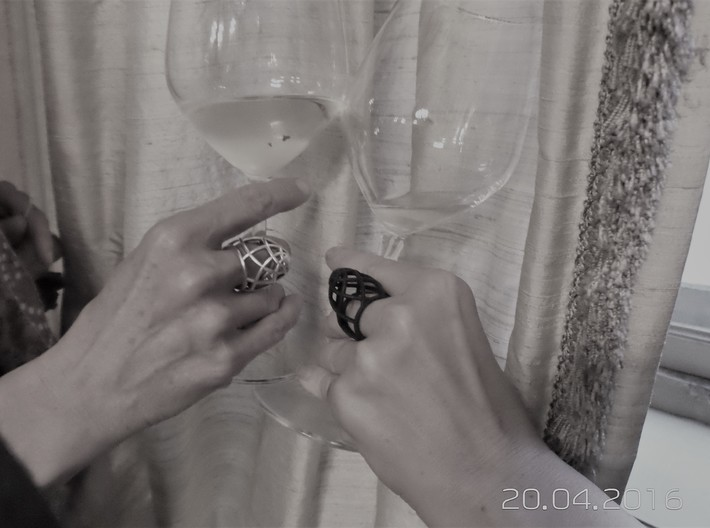 Ovo Ring 53-61 3d printed Silver & Black Natural Versatile Plastic on beautiful hands -  cheers!
