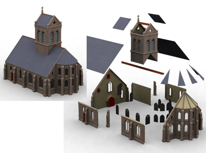 HORelM0151 - Gothic modular church 3d printed