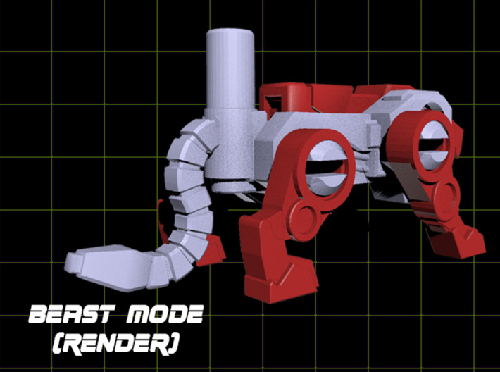 Jaguar Laser Transforming Weaponoid Kit (5mm) 3d printed Render showing tail
