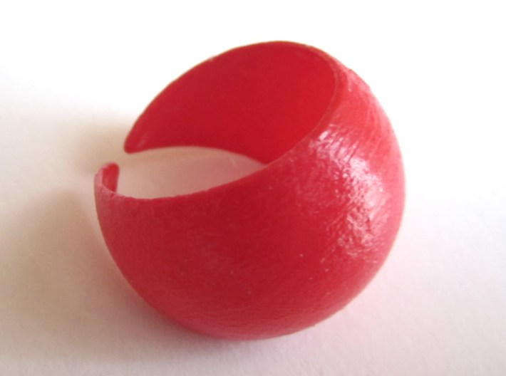 Sphere Ring v1 3d printed in Coral Red Strong and Flexible, and hand-varnished