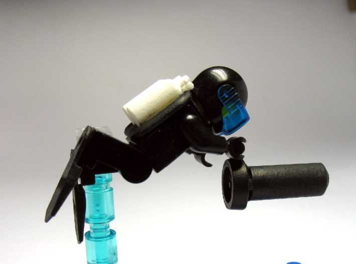 Minifigure Tech Dive Equipment (for tek diver / te 3d printed Printed in White Strong & Flexible Polished and painted with acrylics colors.