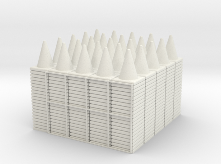 500 Traffic Cones (Stackable), 1/32 3d printed