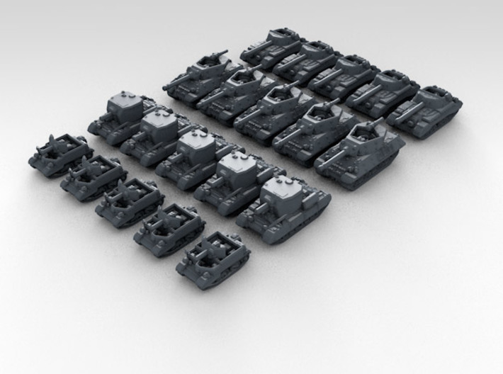 1:700 WW2 British Tank Set 3 Various Types (20) 3d printed 3D render showing product detail