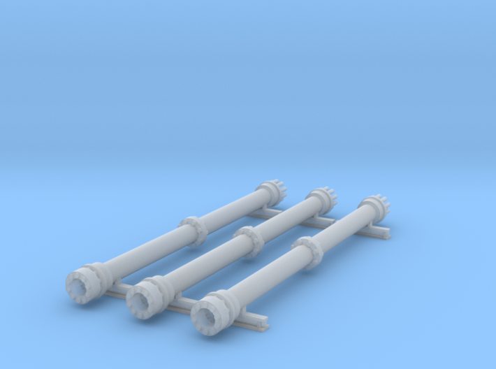 Flat Car Load 40ft Z Scale 3d printed 40ft pipe load Z scale