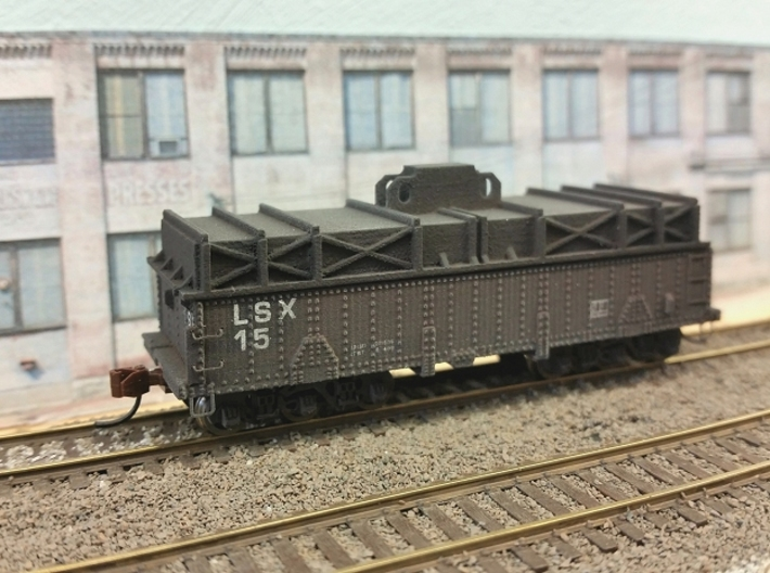 N scale 36' riveted BSX covered coil car 3d printed Finished car lettered for my LundSteel steel company. In addition to trucks and couplers I added BLMA details, freight car ladders, stirrups and grab irons. And a brake wheel if I had had one...