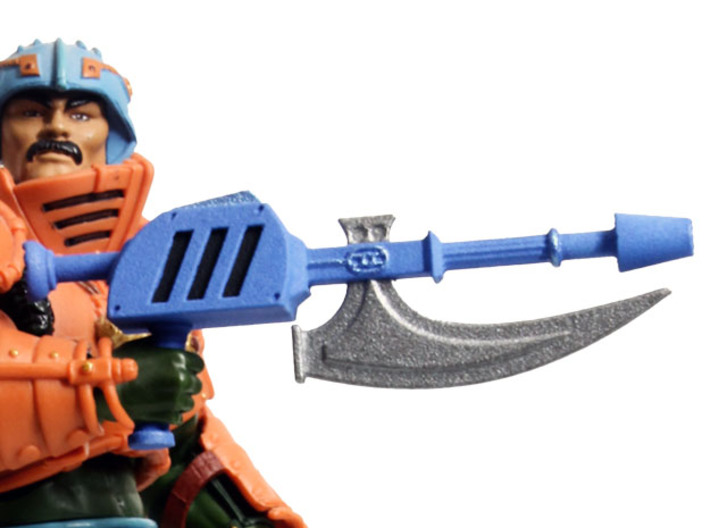 MOTUC Man At Arms Blade-Rifle 3d printed Painted Prototype printed in White Strong & Flexible Polished