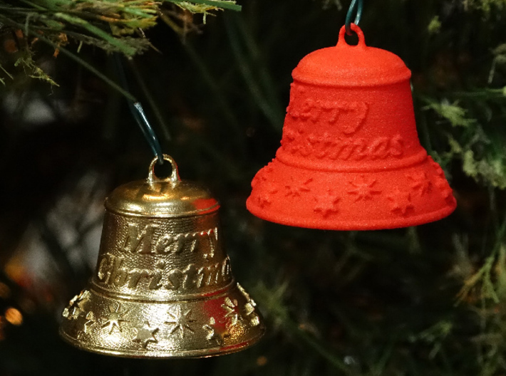 Merry Christmas Bell - Working Ringer Interlocking 3d printed